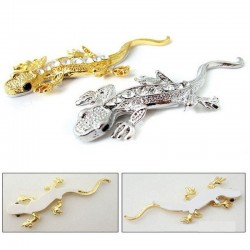 3D gold - crystal gecko - metal car sticker