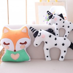 cute unicorn fox stuffed baby toys - soft kawaii animal shaped pillow - cartoon doll - child cushion gift