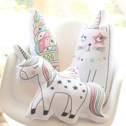 kawaii unicorn, one-horned cat, ice-cream plush pillow - cute soft animal shaped doll