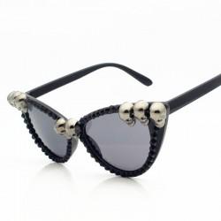 skull frame cat eye sunglasses - men women cool black rhinestone sun shades