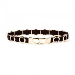 Elegant elastic belt with metal circles