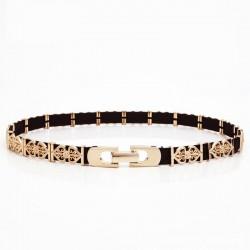 Elegant fashionable belt with leaf pattern and metal buckle