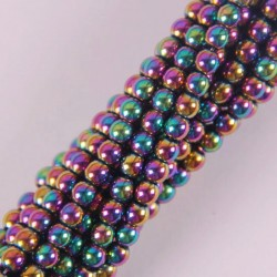 4mm motley magnetic hematite round loose beads - strand 16 inch jewelry for woman gift making