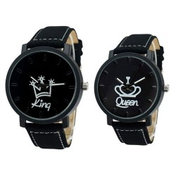 couple watch - queen king crown fuax leather quartz analog wrist watches - chronograph