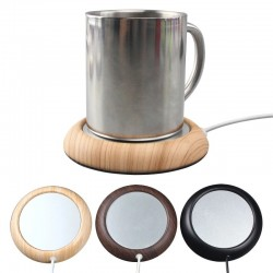 USB cup warmer - tea / coffee heater - wooden