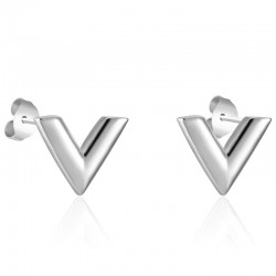 V pattern stud earrings - stainless steel