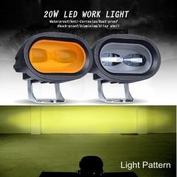 20W 6D 12V 6000K - work light for motorcycle - off-road trucks - ATV - SUV - retro LED bar - lamp