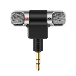 Portable stereo recording microphone - gold plated plug - 3.5mm mini jack for Smartphone