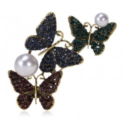 Triple butterflies & pearl - luxury crystal brooch