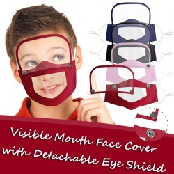 Kids face- mouth mask with detachable eye shield - visible mouth - reusable - washable