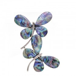 Shell double butterflies - brooch