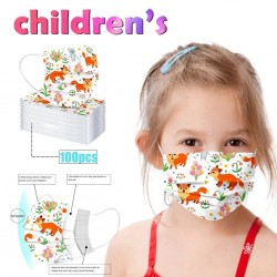 50 - 100 pieces - disposable antibacterial medical face mask - mouth mask - 3-layer - for kids - animals print