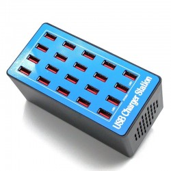 Multi USB charger - 20 ports - 20A / 100W - LED - Quick-Charge