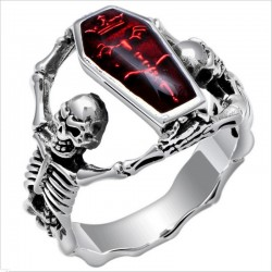 Vampire coffin - skeleton - vintage silver ring