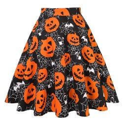 Vintage - high waisted skirt - flowers & Halloween print - skulls - cotton