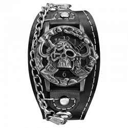 Skull design - quartz watch - leather strap - unisex