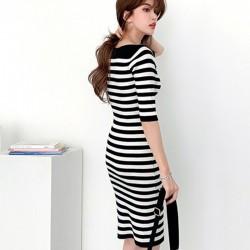 Autumn - Striped Dresses - Knitted - Elegant - Black