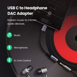 USB Type C to 3.5mm Headphone Jack - Adapter - Cable Cord - DAC Chip