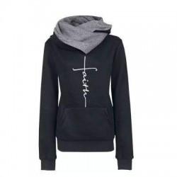 Autumn - Winter - Hoodies - Sweatshirts - Women - Faith Embroidered Print