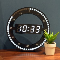 12 Inch - LED Ring Wall Clock - Automatic - Digital - Electronic