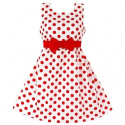 Elegant dress for girls - polka dots - flowers - bow