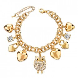 Luxury bracelet with charms & crystals - gold - silver