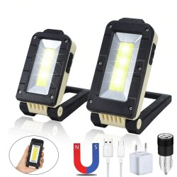 Multifunctional COB work light - USB - rechargeable - 180 degree adjustable - magnet design camping light