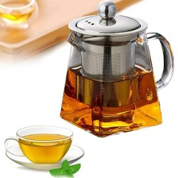 Heat Resistant Glass - Teapot - Stainless Steel