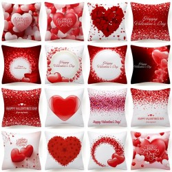 Red hearts - Valentine's Day - cushion cover - 45 * 45 cm
