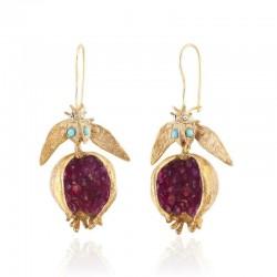 Gold pomegranate - dangle earrings