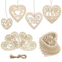 Wood weddings embellishment - laser cut love heart - hanging ornament - rustic wedding decoration
