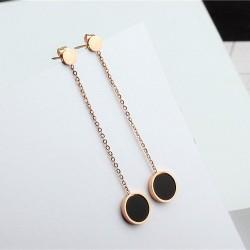 Long black earrings - rose gold - stainless steel
