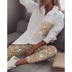 Sequin long sleeve shirt & glitter shiny pant - set