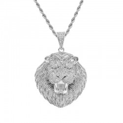 Iced out crystal lion's head - luxurious necklace - unisex