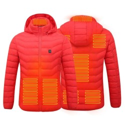 USB heated jacket with hood / zipper - down cotton - unisex