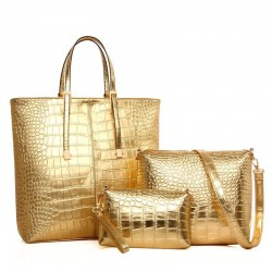 Leather bag - crossbody - small clutch - crocodile skin design - 3 pieces set