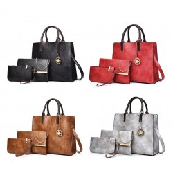 Fashionable leather handbag - crossbody - small clutch bag - hemp logo - 3 pieces set