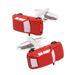 Enamel red car - cufflinks - 2 pieces