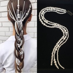 Punk style hair extension - 3-row chain - clip with pearls
