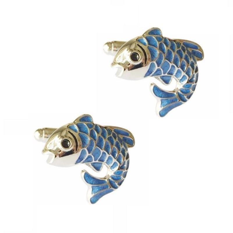 Manschettenknöpfe mit blauem Fisch - 2 Stück