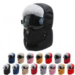 Warm winter hat - with goggles - ears / mouth protection / air valve - waterproof balaclava