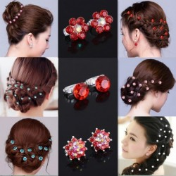 Crystal flowers hair clips - 10 pieces