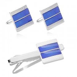 Blue square cufflinks / tie clip - zinc alloy