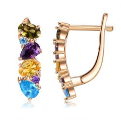 Elegant stud earrings - with colourful crystals