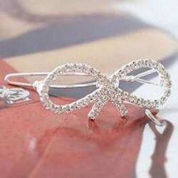 Bow shaped crystal hair clip
