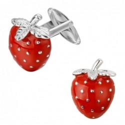 Red strawberries - metal cufflinks