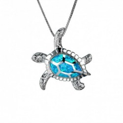 Luxury vintage necklace with crystal turtle - blue / white opal