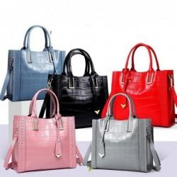 Elegant shoulder bag - genuine leather - stone pattern