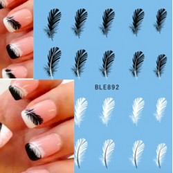 Black & white feather - nail art decal stickers