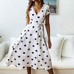 Vintage polka dot dress - short sleeve - v-neck